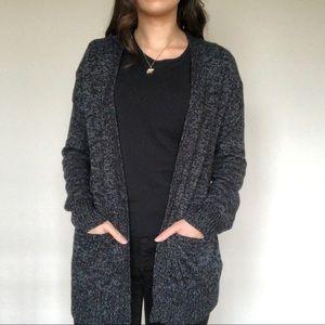 Black w/ white threading Warm Cardigan